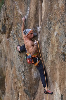 Hill, Rock, People, Man, Climbing, Rappelling, Rope