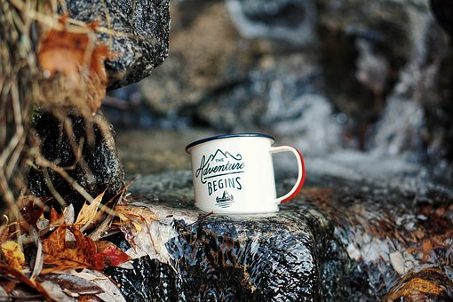 Cup, Mug, Logo, Rock, Water, Leaf, Fall, River