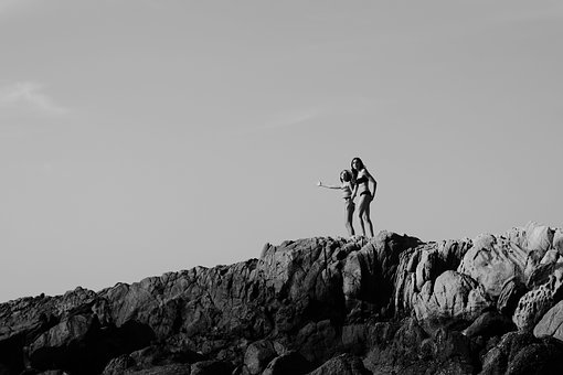 Black And White, People, Girls, Cliff, Hill, Sky