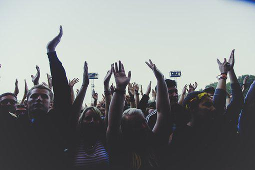 People, Men Women, Crowd, Hands, Praise, Gray Crowd