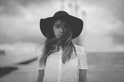 People, Girl, Woman, Alone, Hat, Fashion, Gray Alone