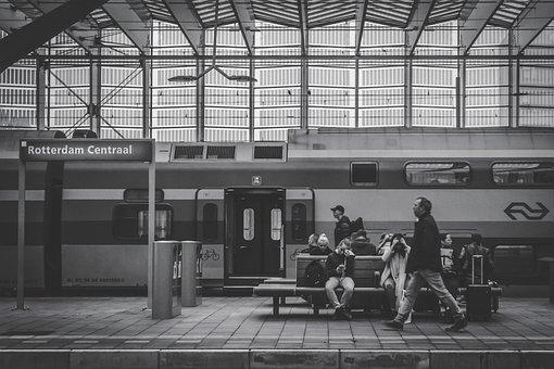 Black And White, People, Sitting, Waiting, Men, Women