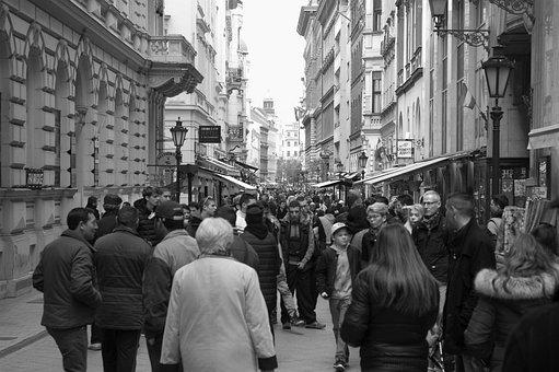 Black And Wite, People, Walking, Men, Women, Child, Kid