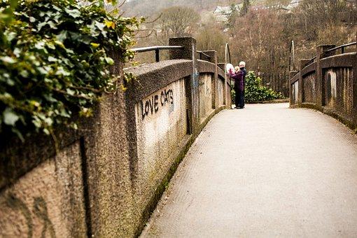Trees, Plant, Bridge, Wall, Path, People, Woman, Man
