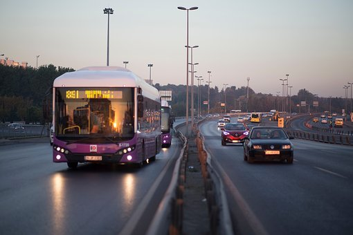 Bus, Car, Vehicle, Lane, Road, Transportation, Pole