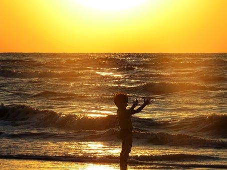 Horizon, Sky, Sea, Ocean, Water, Waves, Sunset, Sunrise