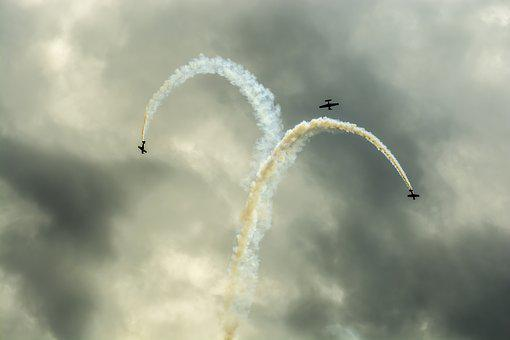 The Plane, Perform Trick, Air Show, Stunts, Aviation