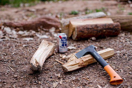 Axe, Wood, Firewood, Drink, Can, Beverage, Outside