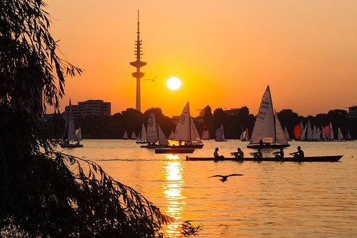 People, Friends, Sailing, Men, Boat, Sunset, Ocean, Sea