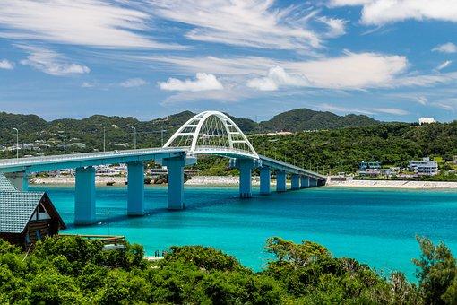 Bridge, Infrastructure, Blue, Sea, Ocean, Beach, Shore
