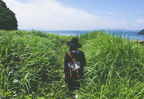 People, Girl, Walking, Alone, Travel, Outdoor, Green
