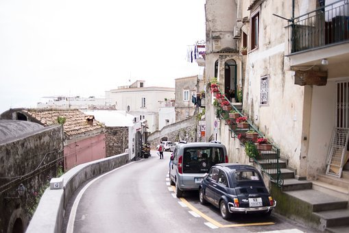 Building, Houses, Street, Road, Stairs, Balcony, Car