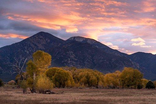 Mountain, Highland, Landscape, Trees, Grass, Sunset