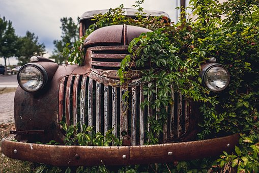 Stel, Metal, Headlight, Old, Rusty, Car, Vine, Green