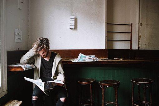 Thinking, People, Man, Reading, Magazine, Newspaper