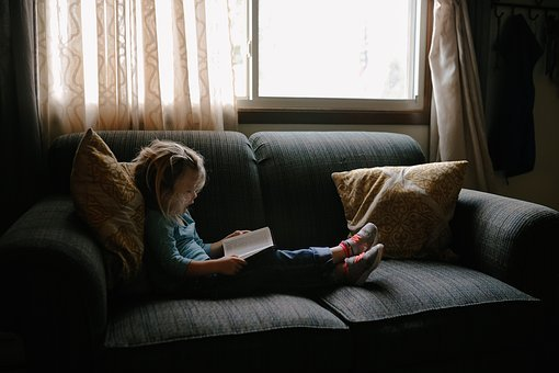 Kid, People, Girl, Child, Sitting, Couch, Pillow