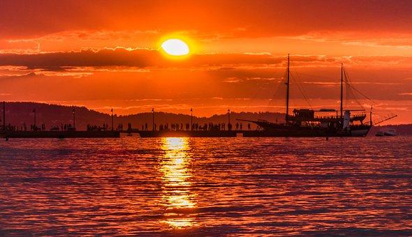 Sunshine, Sunlight, Sunset, Sunrise, Reflection, Ship