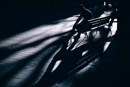 Dark, Bench, People, Man, Alone, Sitting, Park, Waiting