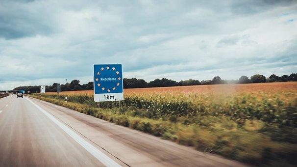 Road, Sign, Board, Car, Field, Farm, Plants, Trees, Sky