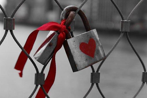 Wire, Lock, Steel, Metal, Red, Ribbon, Heart