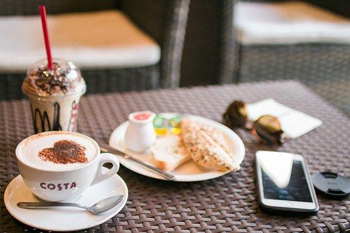 Costa, Coffee, Latte, Art, Stemed, Milk, Hot, Iced