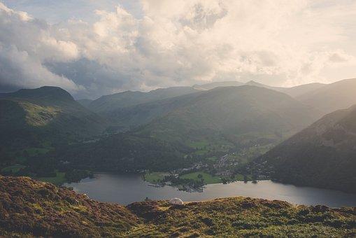 Lake, Water, Mountain, Climbing Tent, Camping Hiking