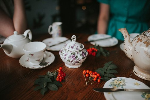Teapot, Cup, Saucer, Spoon, Tea, Table, Leaves, Green