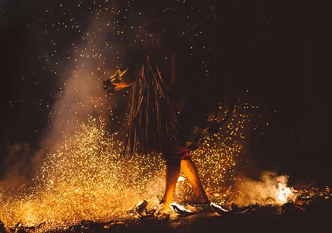 Dark, People, Man, Costume, Props, Fire, Flame, Dance