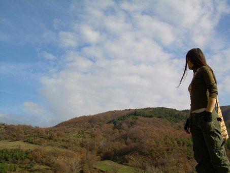 Mountain, Girl, Blue Sky, Sky, Clouds, Light, Freedom