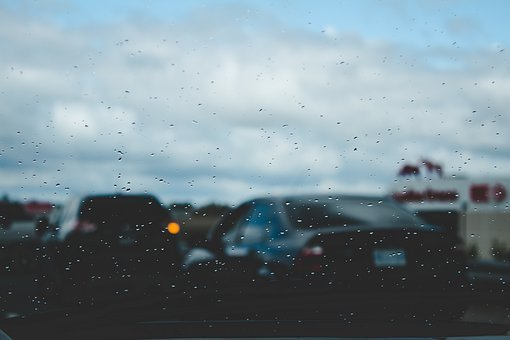 Car, Drive, Glass, Window, Raindrops, Wet, Traffic
