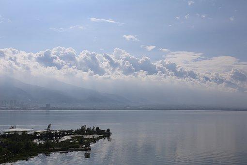 Clouds, Sky, Sea, Ocean, Water, House, Windy, Green