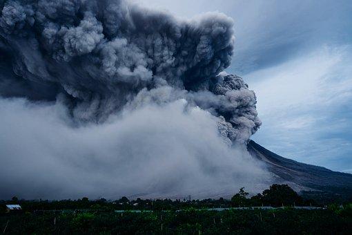 Volcano, Explosion, Nature, Eruption, Smoke, House