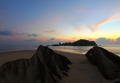Beach, Sand, Sea, Water, Rock, Formation, Nature Sky