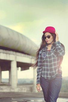 Women, Cheerful, Model, Indonesian Women, Red Hat