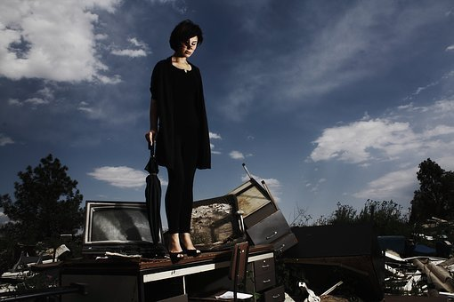 Umbrella, Only, Sad, Depression, Abandoned, Portrait