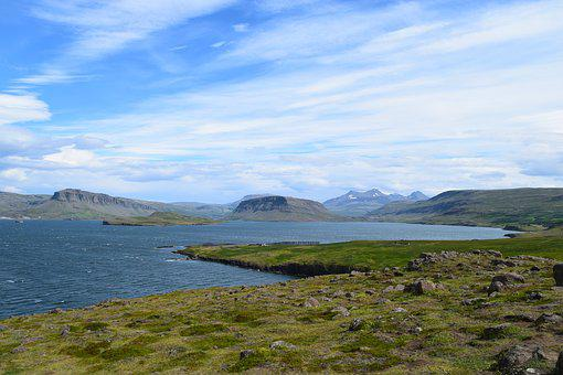 Bay, Sky, Mountains, Fjord, Grass, Coast, Iceland