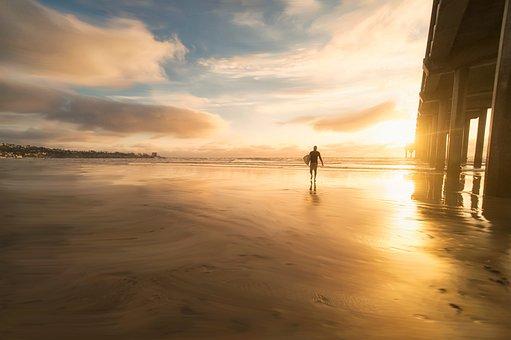 Sea, Water, Beach, People, Man, Surfing, Board, Sport