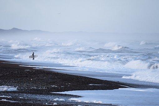 People, Man, Alone, Surfing, Board, Sport, Sea, Water