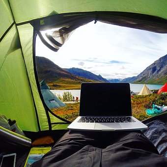 Camping, Outdoor, Travel, Adventure, Tent, Laptop