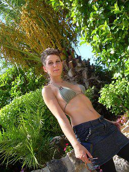 Model, Girl, Dark Hair, Bikini, Thinking, Child, Woman