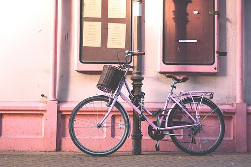 Pink, Wall, Bike, Bicycle, Outside, Window, Sidewalk