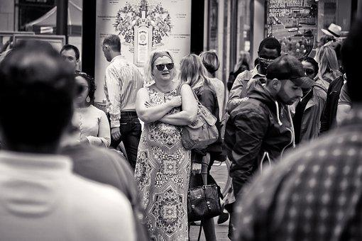 Street Photography, Woman, Urban, Road, Black And White