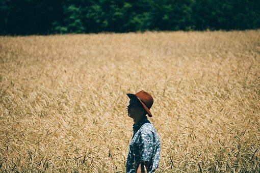 Field, Man, Alone, Solo, Fashion, Fedora, Nature, Green