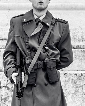Soldier, Military, Army, People, Man, Black And White