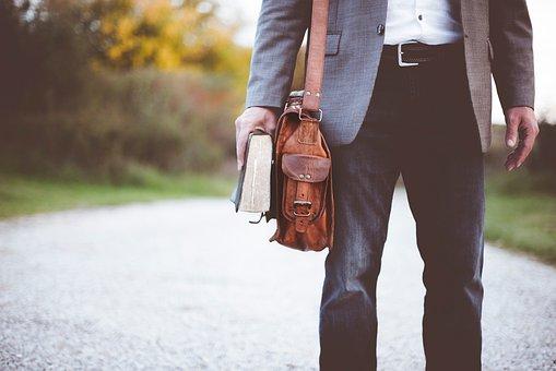 People, Man, Bag, Clothing, Bible, Book, Reading