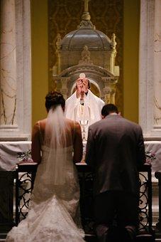 Wedding, Mass, Priest, Bride, Groom, Gown, Suit, Altar