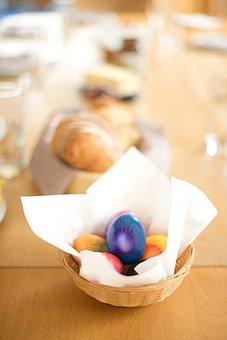 Egg, Colorful, Table, Basket, Brown, Food