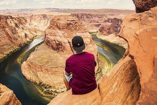 Guy, Man, Desert, Canyon, Landscape, Nature, People