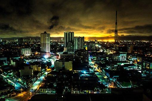 Skyline, City, Night, Building, Infrastructure, Lights