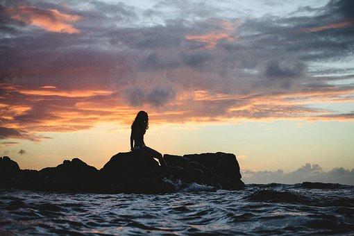 Girl, Swimsuit, Alone, Dark, Swimming, Beach, Ocean